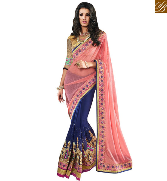 STYLISH BAZAAR BLUE AND PINK LYCRA NET GEORGETTE PARTY WEAR DESIGNER SAREE WITH HEAVY LACE BORDER WORK VDMIT18394