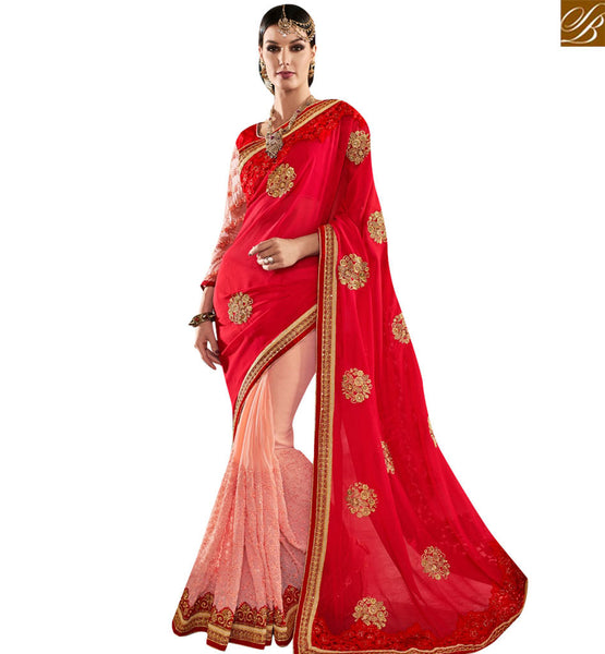 FROM STYLISH BAZAAR ATTRACTIVE RED AND PEACH GEORGETTE PARTY WEAR DESIGNER SAREE WITH RED EMBROIDERED BLOUSE VDMIT18395