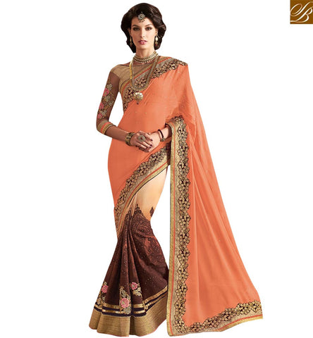 STYLISH BAZAAR ORANGE AND BROWN GEORGETTE PARTY WEAR DESIGNER SAREE WITH UNIMAGINABLE LACE BORDER WORK VDMIT18396