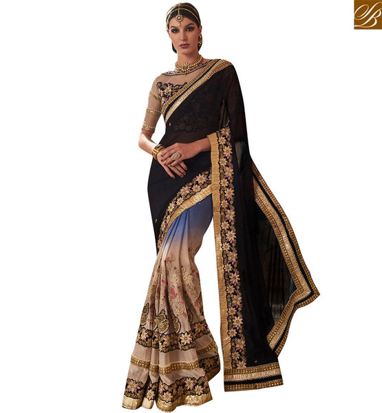 STYLISH BAZAAR CAPTIVATING BLACK BLUE AND BEIGE GEORGETTE PARTY WEAR DESIGNER SAREE PERFECT FOR DAYTIME EVENTS VDMIT18397