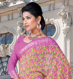 PRINTED PINK CASUAL WEAR SAREE RTKOR183B