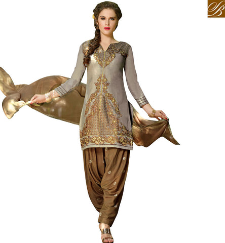STYLISH BAZAAR WONDERFUL GREY COTTON STRAIGHT CUT SALWAR KAMEEZ CASUAL WEAR PATIALA STYLE WITH EMBROIDERED VDPTH18448
