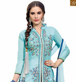 BROUGHT TO YOU BY STYLISH BAZAAR BLUE CAMBRIC COTTON STRAIGHT CUT SALWAR KAMEEZ CASUAL WEAR PATIALA STYLE WITH BLUE BOTTOM VDPTH18449