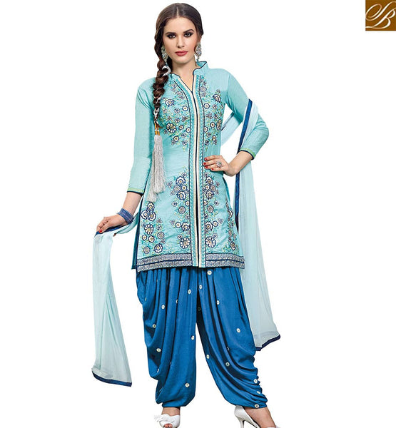 STYLISH BAZAAR BLUE CAMBRIC COTTON STRAIGHT CUT SALWAR KAMEEZ CASUAL WEAR PATIALA STYLE WITH BLUE BOTTOM VDPTH18449