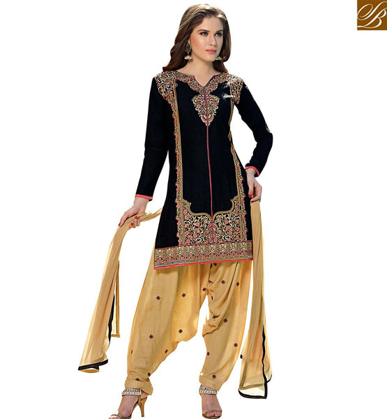 STYLISH BAZAAR SHOP ONLINE BLACK COTTON STRAIGHT CUT PATIALA STYLE SALWAR KAMEEZ HAVING PLEASANT GLANCE VDPTH18453