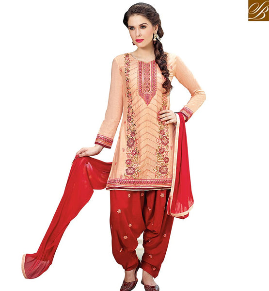 STYLISH BAZAAR INVITING PEACH COTTON STRAIGHT CUT PATIALA STYLE SALWAR KAMEEZ WITH WONDERFUL RED BOTTOM VDPTH18454