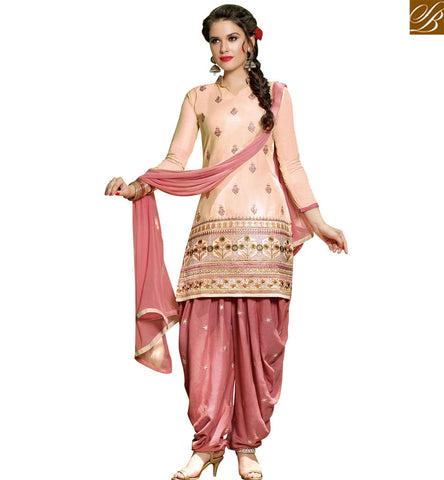 STYLISH BAZAAR DAZZLING PEACH COTTON CASUAL WEAR STRAIGHT CUT SLAWAR KAMEEZ SHOWING PATIALA STYLE VDPTH18455