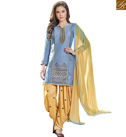 STYLISH BAZAAR SPLENDID BLUE WEAR INDIAN TRADITIONAL STRAIGHT CUT SALWAR KAMEEZ WITH GORGEOUS PATIALA STYLE VDPTH18456