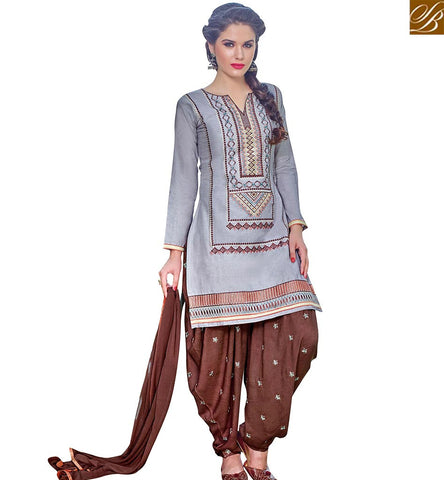 STYLISH BAZAAR DELIGHTFUL GREY COTTON STRAIGHT CUT PATIALA STYLE SALWAR KAMEEZ WITH BROWN BOTTOM AND DUPATTA VDPTH18457