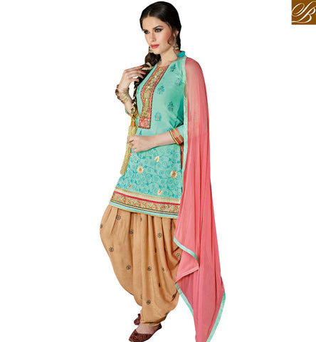 STYLISH BAZAAR PLEASING GREEN COTTON STRAIGHT CUT PATIALA STYLE SALWAR KAMEEZ HAVING BEIGE BOTTOM AND PINK DUPATTA VDPTH18458