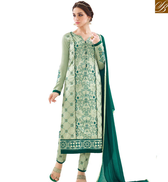 STYLISH BAZAAR MAGNIFICENT GREEN COTTON STRAIGHT CUT DESIGNER SALWAR KAMEEZ WITH MATCHING TROUSER VDAPU18459