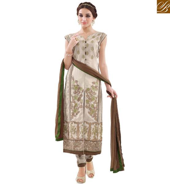 STYLISH BAZAAR BEAUTIFUL BEIGE COTTON STRAIGHT CUT DESIGNER SALWAR KAMEEZ WITH BROWN NAJNEEN DUPATTA VDAPU18460