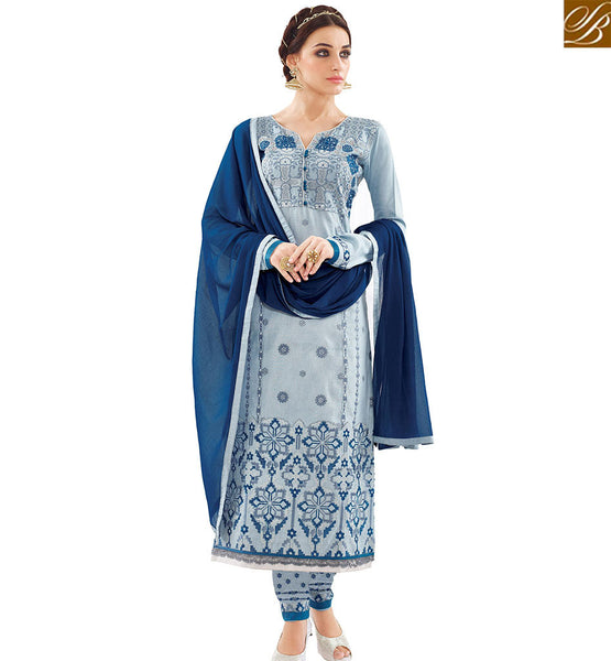 STYLISH BAZAAR AMAZING BLUE COTTON DESIGNER STRAIGHT CUT SALWAR KAMEEZ WITH BEAUTIFUL BLUE NAJNEEN DUPATTA VDAPU18461