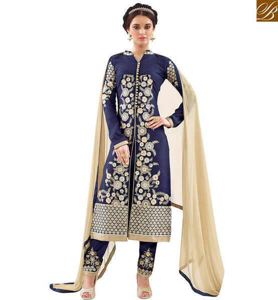 STYLISH BAZAAR ADMIRABLE BLUE COTTON BEAUTIFUL EMBROIDERED STRAIGHT CUT SALWAR KAMEEZ WITH MATCHING TROUSER VDAPU18464