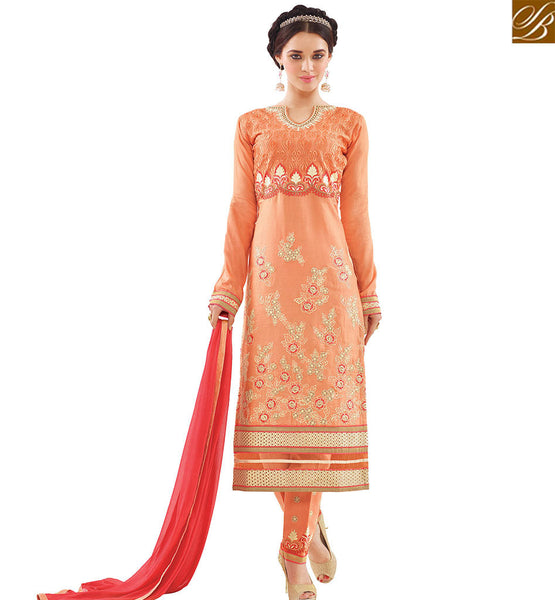 STYLISH BAZAAR SPLENDID ORANGE COTTON HEAVY EMBROIDERED DESIGNER STRAIGHT CUT SALWAR KAMEEZ WITH RED DUPATTA VDAPU18466