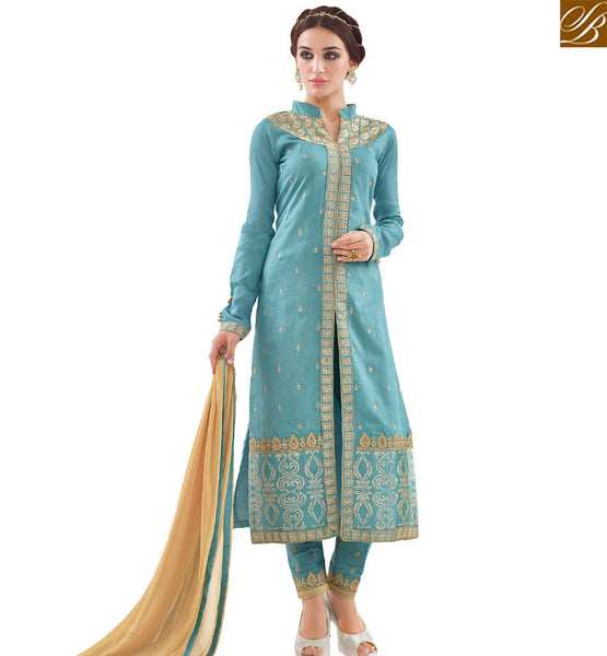 STYLISH BAZAARA BUY PAKISTANI STRAIGHT CUT DESIGNER SALWAR KAMEEZ HAVING TRADITIONAL LOOK WITH SLIT CUT VDAPU18467
