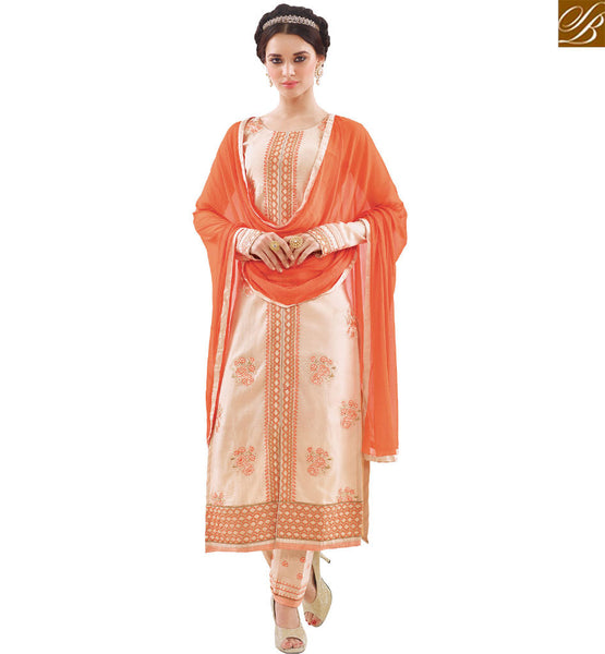 STYLISH BAZAAR SHOP INDIAN TRADITIONAL STRAIGHT CUT SALWAR KAMEEZ CONTAIN WELL EMBROIDERY WITH ORANGE DUPATTA VDAPU18468