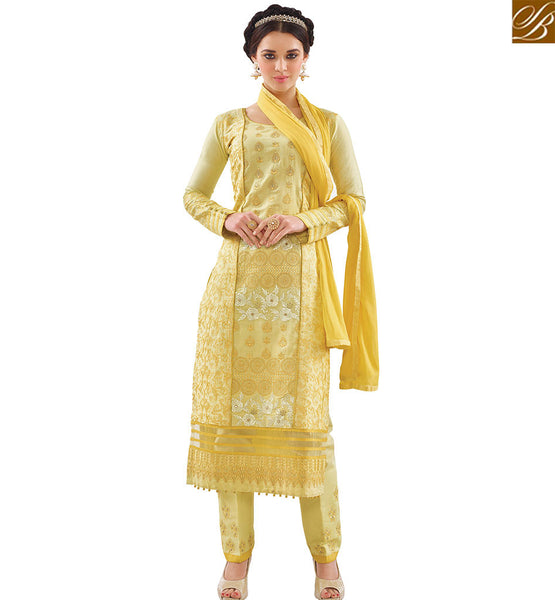 STYLISH BAZAAR YELLOW COTTON CASUAL WEAR DESIGNER STRAIGHT CUT SALWAR KAMEEZ WITH BEAUTIFUL PATTERN VDAPU18469