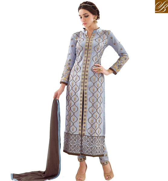 STYLISH BAZAAR DELIGHTFUL GREY COTTON CASUAL WEAR DESIGNER STRAIGHT CUT SALWAR KAMEEZ HAVING BROWN DUPATTA VDAPU18470