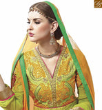 FROM STYLISH BAZAAR GREEN AND ORANGE GEORGETTE DESIGNER ANARKALI SALWAR KAMEEZ WITH BEAUTIFUL EMBROIDERY VDASI18471