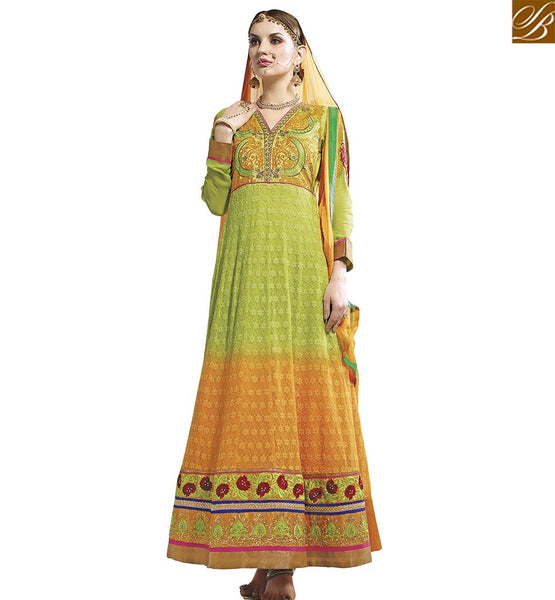 STYLISH BAZAAR GREEN AND ORANGE GEORGETTE DESIGNER ANARKALI SALWAR KAMEEZ WITH BEAUTIFUL EMBROIDERY VDASI18471
