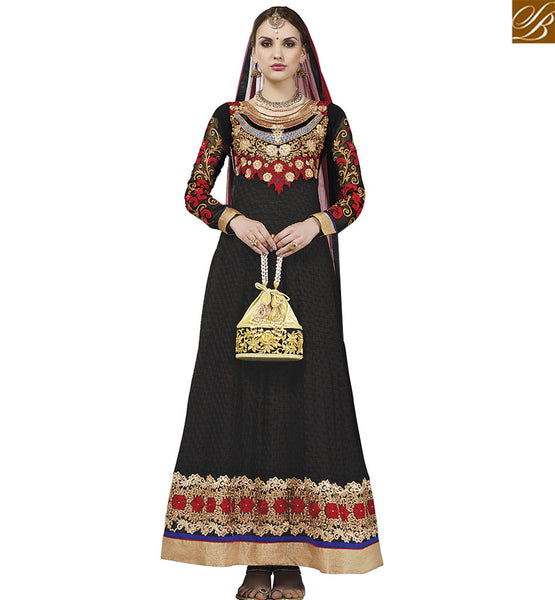 STYLISH BAZAAR ATTRACTIVE BLACK GEORGETTE DESIGNER ANARKALI SALWAR KAMEEZ WITH ENCHANTING EMBROIDERY WORK VDASI18472
