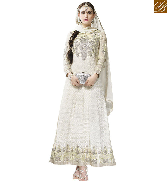 STYLISH BAZAAR WONDERFUL INDIAN TRADITIONAL OFF WHITE GEORGETTE DESIGNER ANARKALI SALWAR KAMEEZ FROM STYLISH BAZAAR VDASI18474