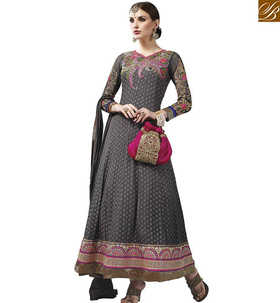 STYLISH BAZAAR CAPTIVATING GREY INDIAN CULTURED DESIGNER ANARKALI SALWAR KAMEEZ WITH BEAUTIFUL EMBROIDERY WORK VDASI18476