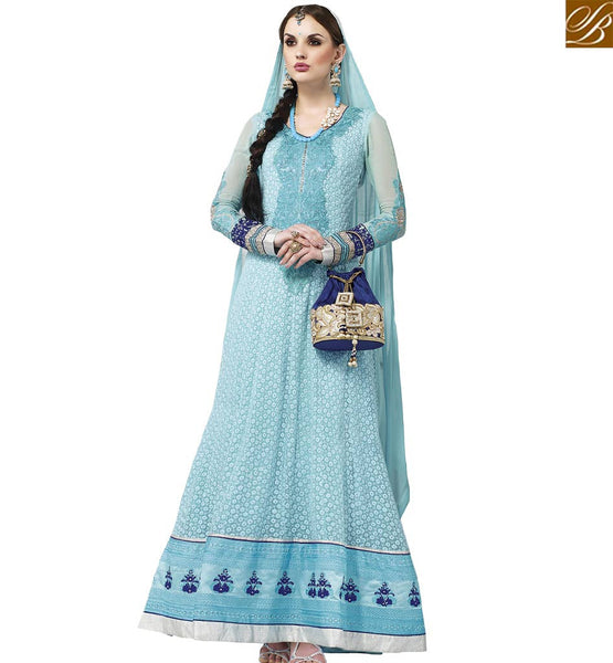 STYLISH BAZAAR UNIMAGINABLE BLUE GEORGETTE HAVING BEAUTIFUL INDIAN CULTURED DESIGNER SUIT WITH EMBROIDERY VDASI18477