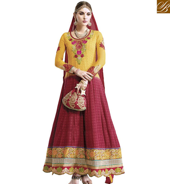 STYLISH BAZAAR DELIGHTFUL YELLOW AND RED GEORGETTE DESIGNER ANARKALI SALWAR KAMEEZ WITH PLEASANT LOOK VDASI18478