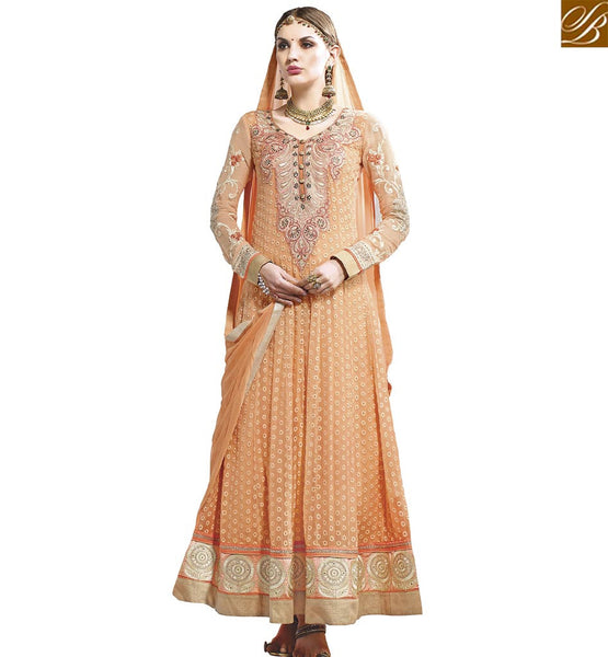 STYLISH BAZAAR DAZZLING ORANGE GEORGETTE DESIGNER ANARKALI SALWAR KAMEEZ WITH BEAUTIFUL NECK EMBROIDERY WORK VDASI18479