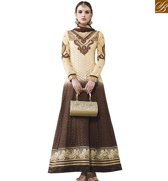 STYLISH BAZAAR SPLENDID BEIGE AND BROWN SHADED GEORGETTE DESIGNER ANARKALI SALWAR KAMEEZ WITH GORGEOUS EMBROIDERY WORK VDASI18480