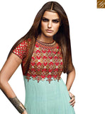 FROM STYLISH BAZAAR BEAUTIFUL SEA BLUE NET DESIGNER ANARKALI SALWAR KAMEEZ HAVING MIRROR WORK WITH EMBROIDERY VDVVK18493