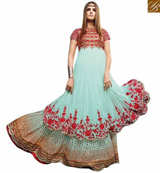 STYLISH BAZAAR BEAUTIFUL SEA BLUE NET DESIGNER ANARKALI SALWAR KAMEEZ HAVING MIRROR WORK WITH EMBROIDERY VDVVK18493