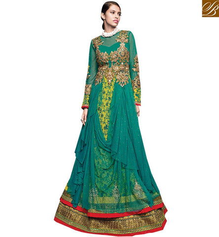 STYLISH BAZAAR ATTRACTIVE GREEN NET DESIGNER ANARKALI SALWAR KAMEEZ CONTAIN SUPERB EMBROIDERY WITH GOWN STYLE VDVVK18495