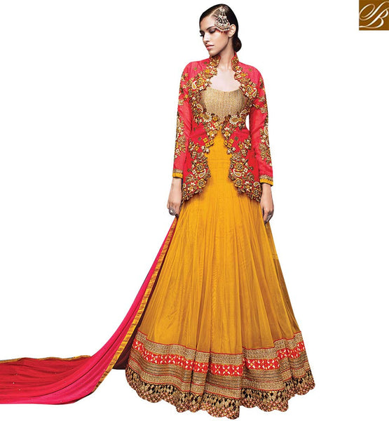 STYLISH BAZAAR INVITING YELLOW NET COTTON SILK DESIGNER SUIT CONTAIN HEAVY EMBEDDED JACKET WITH EMBROIDERED LACE BORDER VDVVK18497