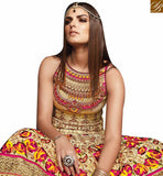 FROM STYLISH BAZAAR APPRECIATING BEIGE COTTON SILK DESIGNER ANARKALI SALWAR KAMEEZ HAVING DAZZLING FLORAL WORK AND LACE BORDER VDVVK18498