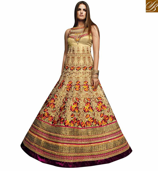 STYLISH BAZAAR APPRECIATING BEIGE COTTON SILK DESIGNER ANARKALI SALWAR KAMEEZ HAVING DAZZLING FLORAL WORK AND LACE BORDER VDVVK18498