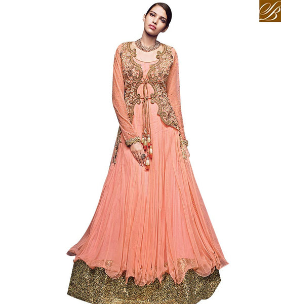 STYLISH BAZAAR WONDERFUL PEACH NET DESIGNER ANARKALI SALWAR SUIT CONTAIN HEAVY EMBEDDED PATCH AND MOTI WITH GOWN STYLE VDVVK18499