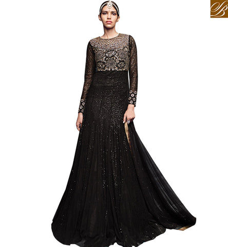 STYLISH BAZAAR SPLENDID BLACK NET DESIGNER ANARKALI SALWAR KAMEEZ CONTAINS SEQUENCE WORK WITH WELL EMBROIDERY ON CHEST VDVVK18501