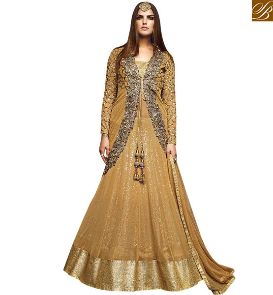 STYLISH BAZAAR GOOD LOOKING BEIGE NET SEQUENCE WORKED DESIGNER SUIT EMBROIDERED JACKET WITH LEHENGA STYLE VDVVK18502