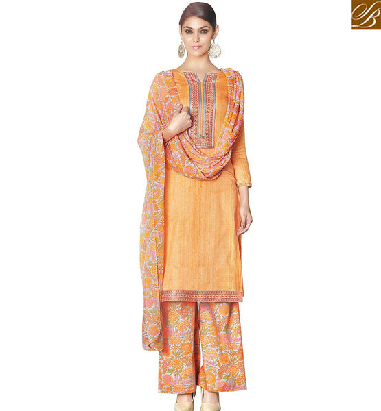 STYLISH BAZAAR ORANGE SATIN COTTON STRAIGHT CUT PLAZZO STYLE CASUAL WEAR SALWAR KAMEEZ VDPHU18503
