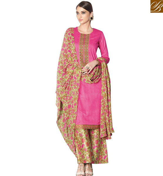 STYLISH BAZAAR ELEGANT PINK COTTON SATIN DESIGNER STRAIGHT CUT SALWAR KAMEEZ WITH PLAZZO STYLE VDPHU18506