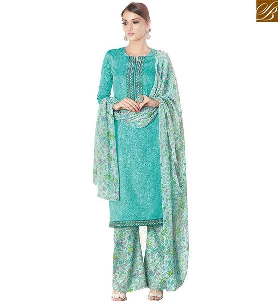 STYLISH BAZAAR ATTRACTIVE BLUE COTTON SATIN STRAIGHT CUT SALWAR KAMEEZ HAVING FLORAL PRINT PLAZZO AND DUPATTA VDPHU18508