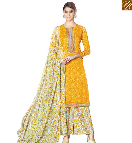 STYLISH BAZAAR REMARKABLE YELLOW COTTON SATIN CASUAL WEAR DESIGNER STRAIGHT CUT SALWAR KAMEEZ WITH PRINTED PLAZZO VDPHU18510