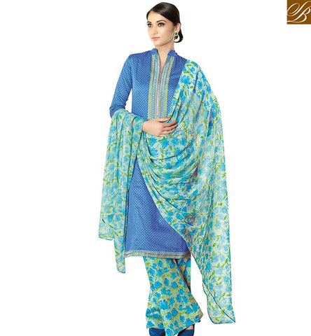 STYLISH BAZAAR AMAZING BLUE COTTON SATIN CASUAL WEAR DESIGNER STRAIGHT CUT SALWAR KAMEEZ HAVING WELL PRINTED PLAZZO VDPHU18511