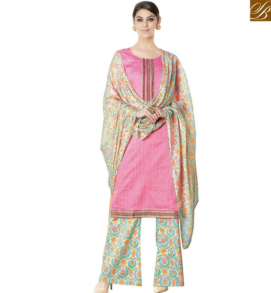 STYLISH BAZAAR WONDERFUL PINK COTTON STRAIGHT CUT SALWAR KAMEEZ HAVING FLORAL PRINT PLAZZO WITH DUPATTA VDPHU18512
