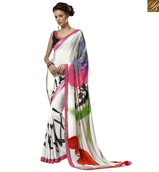 ATTRACTIVE PRINTED SAREE DESIGN VAR1851 BY OFF WHITE