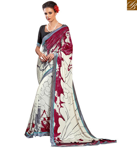 GORGEOUS DIGITAL PRINT CASUAL WEAR SAREE VAR1853 BY OFF WHITE