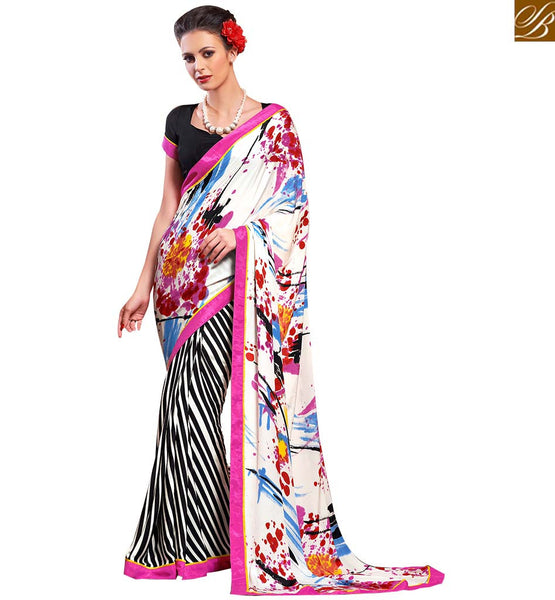 STUNNING DIGITAL PRINTED SARI DESIGN VAR1854 BY OFF WHITE & BLACK